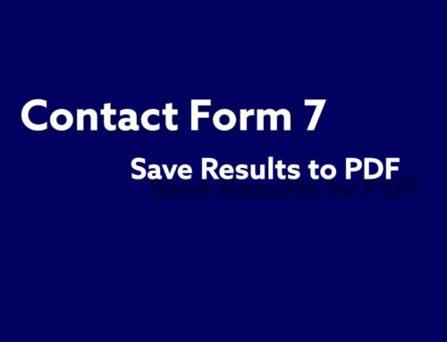 Contact Form 7  Results to PDF